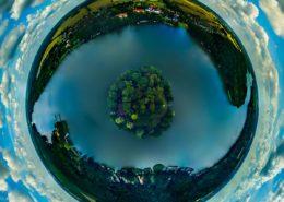 Luftaufnahme Kyritz, Bantikow, Untersee & Unterseeinsel (Tiny Planet Effekt)